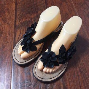 BOC Black Floral Sandals Flip Flops 9 M Adney